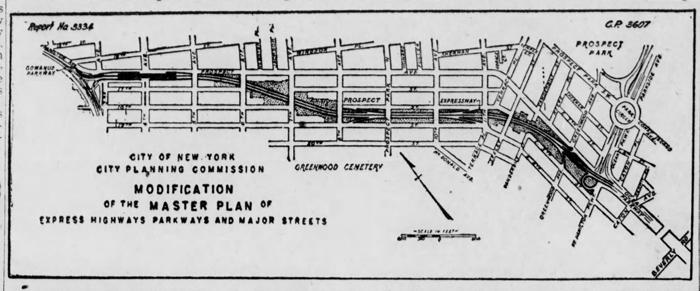 Prospect Expressway plan The Brooklyn Eagle 1949